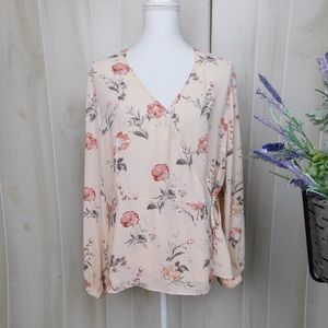 Rose & Olive Peach Floral Wrap Blouse